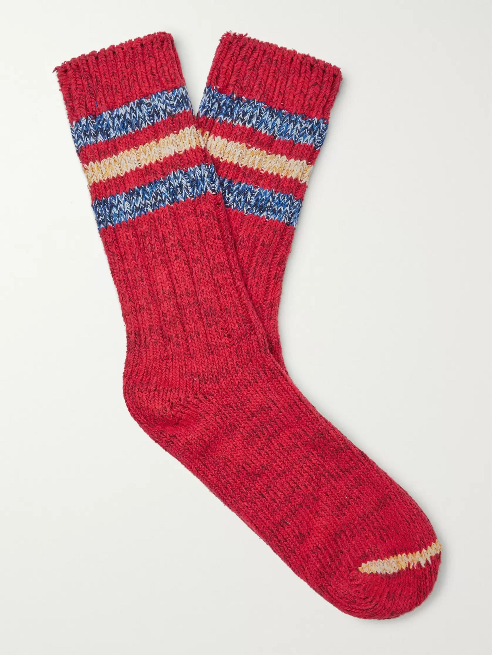 Thunders Love Outland Striped Mélange Recycled Cotton-Blend Socks