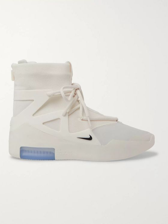 Nike + Fear of God Air 1 Mesh, Nubuck and Rubber High-Top Sneakers