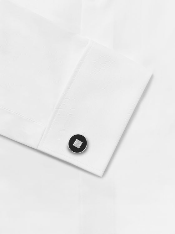 Dunhill Rhodium-Plated Sterling Silver and Onyx Cufflinks and Shirt Studs Set