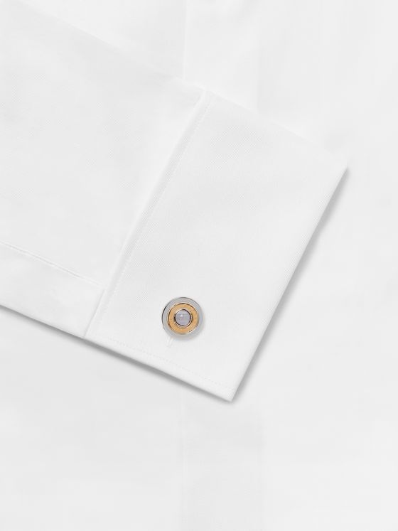 Dunhill Gold-Plated Sterling Silver and Chalcedony Radial Cufflinks