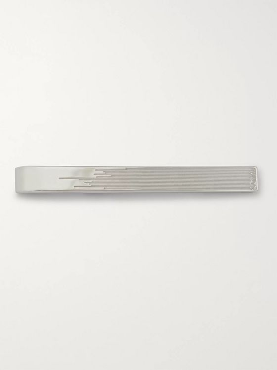 Dunhill Logo-Engraved Sterling Silver Tie Bar