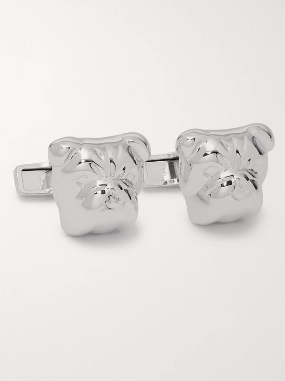 Dunhill Bulldog Rhodium-Plated Cufflinks