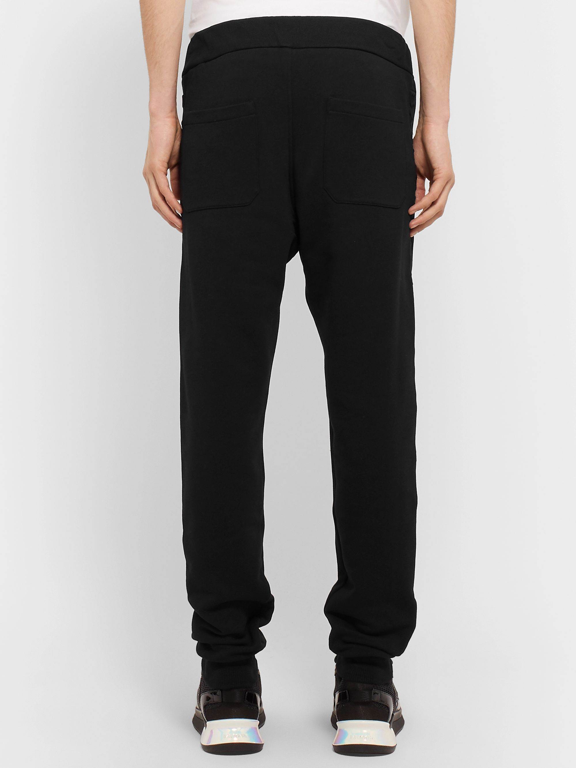 Balmain Slim-Fit Tapered Logo-Embossed Loopback Cotton-Jersey Sweatpants