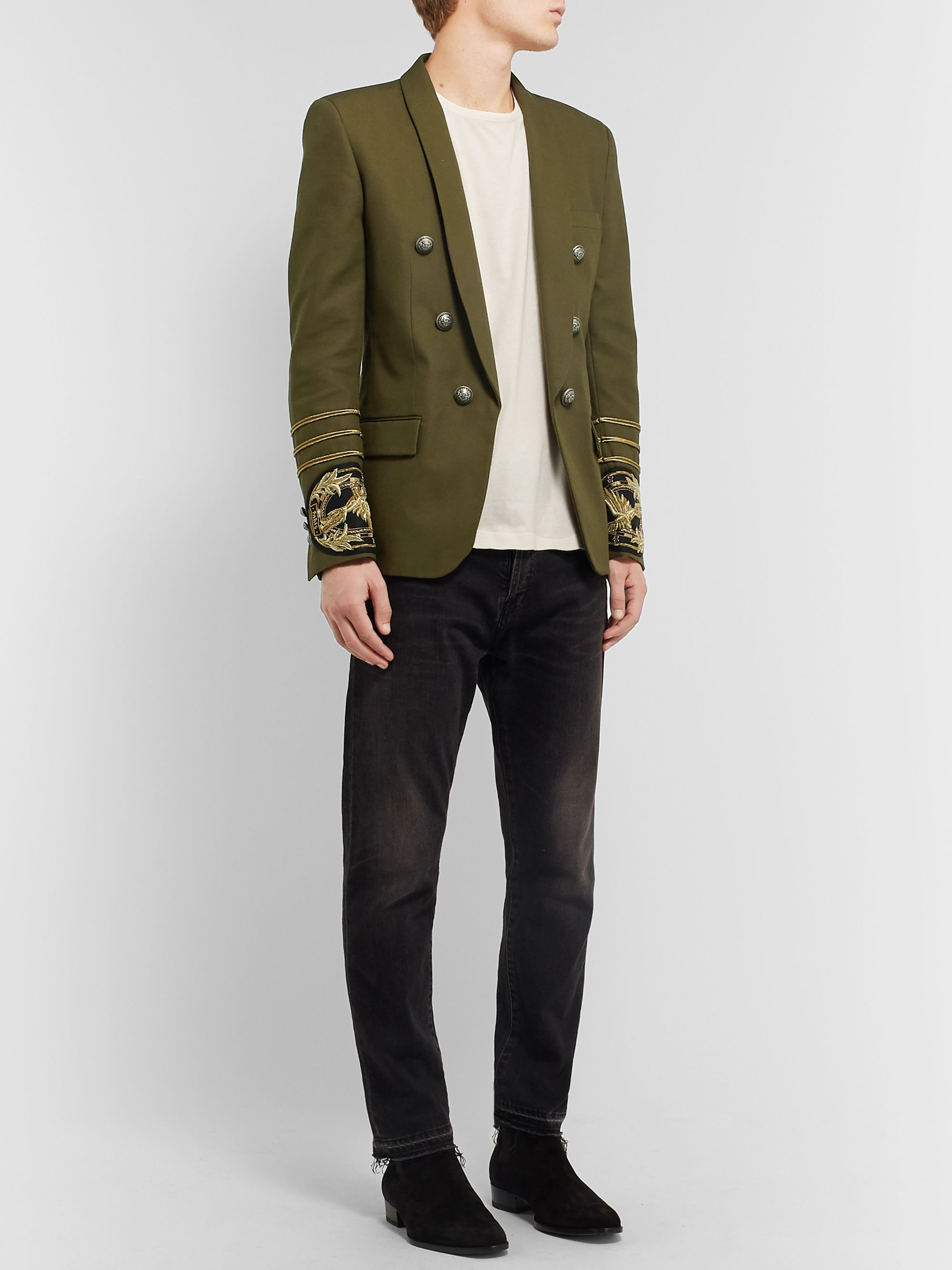 Balmain Army-Green Slim-Fit Embellished Cotton-Canvas Blazer