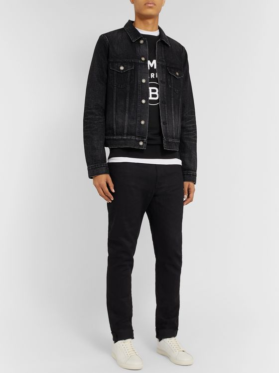 Balmain Slim-Fit Logo-Flocked Loopback Cotton-Jersey Sweatshirt