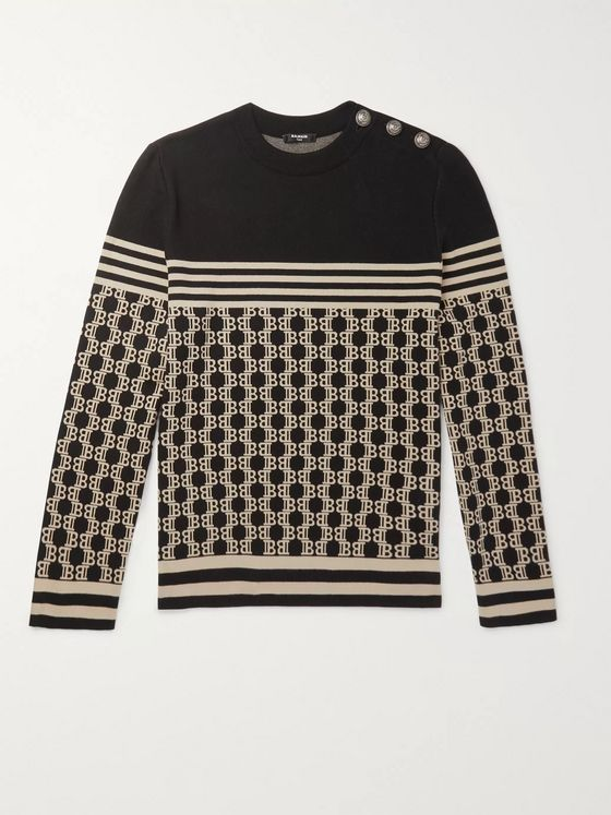 Balmain Logo-Jacquard Cotton Sweater