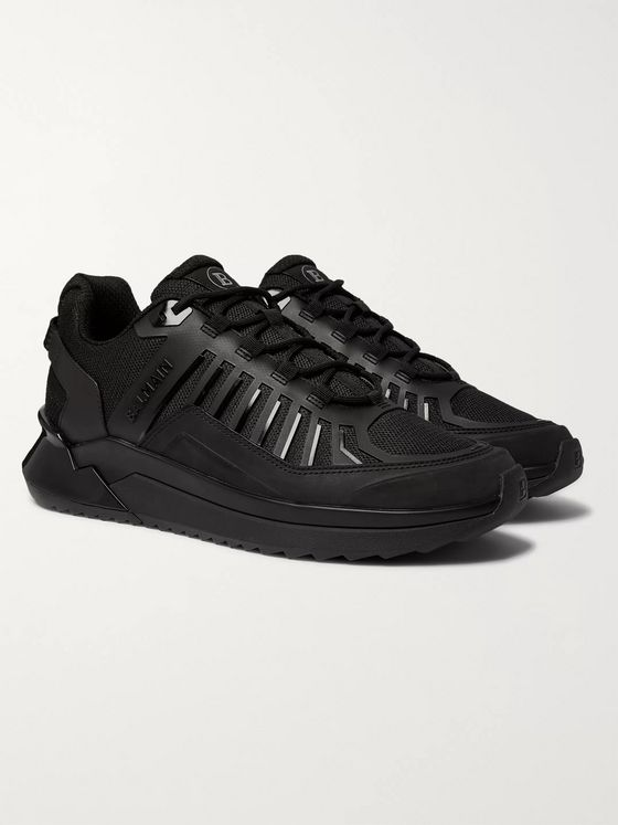 Balmain B-Trail Leather and Mesh Sneakers