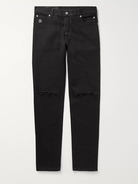 Balmain Slim-Fit Tapered Distressed Denim Jeans