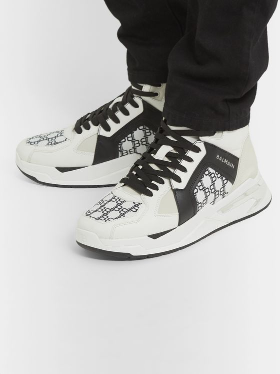 Balmain B-Ball Logo-Print Panelled Leather Sneakers