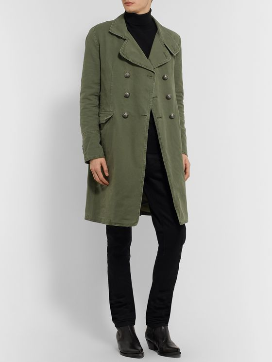 Balmain Slim-Fit Double-Breasted Cotton-Canvas Coat