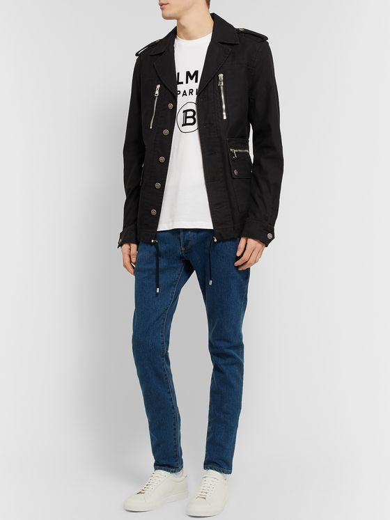 Balmain Slim-Fit Logo-Embossed Denim Jeans
