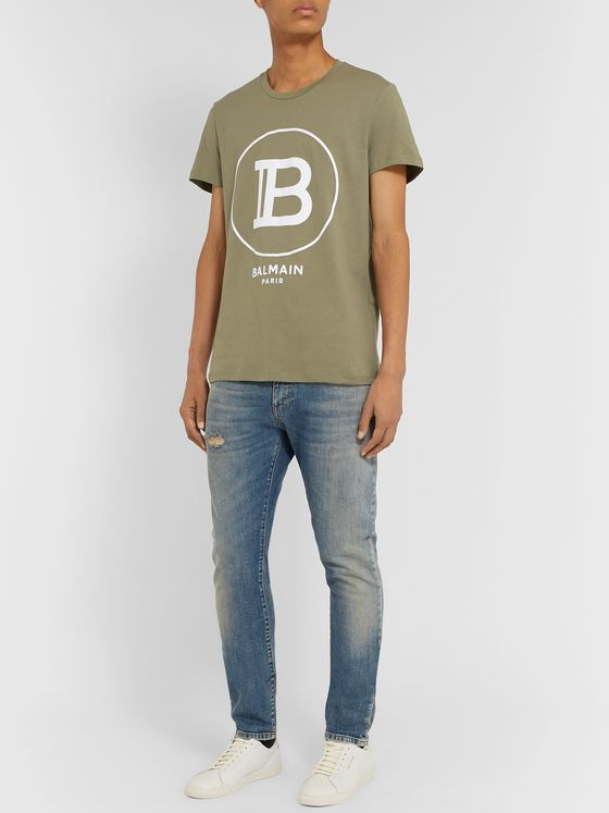 Balmain Logo-Flocked Cotton-Jersey T-Shirt