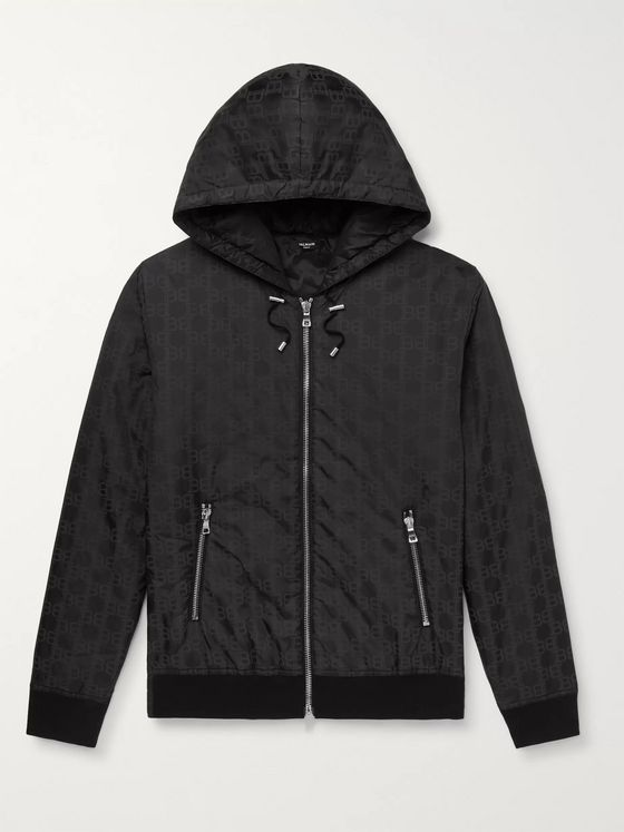 Balmain Padded Logo-Print Shell Hooded Jacket