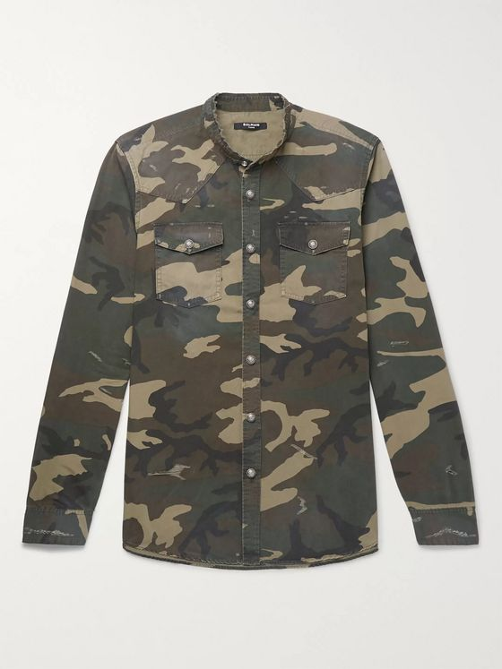 Balmain Slim-Fit Grandad-Collar Distressed Camouflage Cotton Shirt