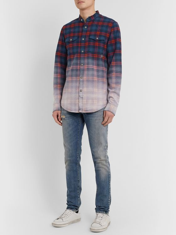 Balmain Slim-Fit Grandad-Collar Dégradé Checked Cotton-Flannel Shirt
