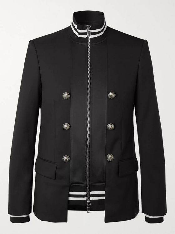 Balmain Black Slim-Fit Panelled Wool and Tech-Jersey Blazer