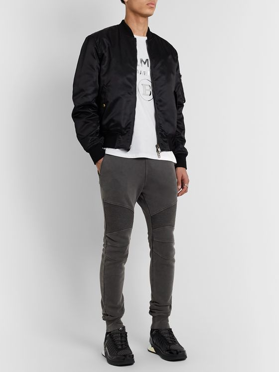 Balmain Slim-Fit Panelled Loopback Cotton-Blend Jersey Sweatpants