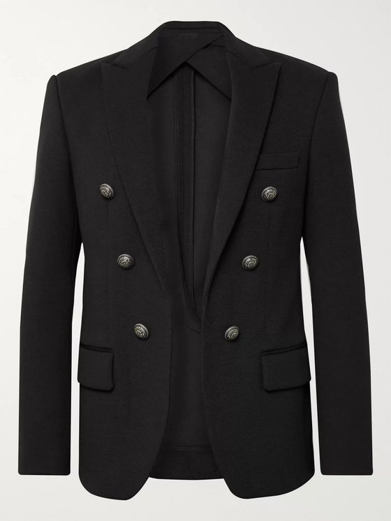 Balmain Black Slim-Fit Woven Blazer