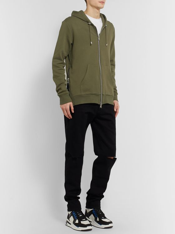 Balmain Logo-Flocked Fleece-Back Stretch-Cotton Jersey Hoodie