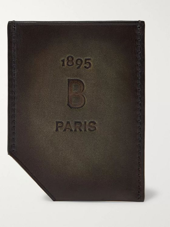 Berluti Slide Debossed Leather Cardholder