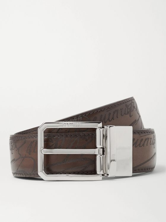 Berluti 3.5cm Brown Reversible Scritto Leather Belt