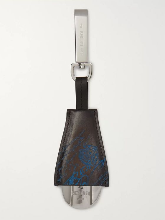 Berluti Scritto Leather and Stainless Steel Shoehorn Fob