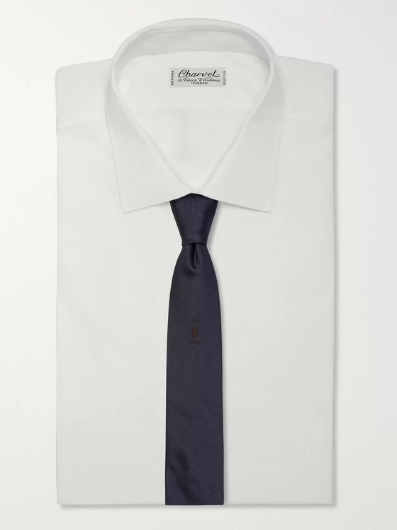 Berluti 6cm Logo-Embroidered Mulberry Silk-Faille Tie
