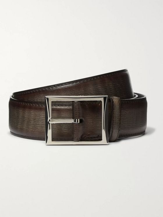Berluti 3cm Dark-Brown Textured-Leather Belt
