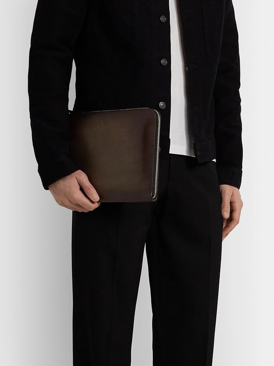 Berluti Zip-Around Textured-Leather Pouch