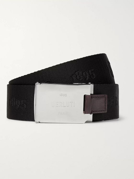 Berluti Leather-Trimmed Webbing-Jacquard Belt