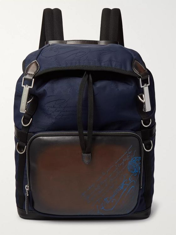 Berluti Scritto Leather and Jacquard Backpack