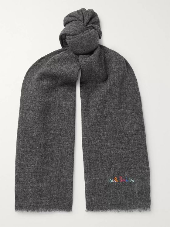 Paul Smith Logo-Embroidered Fringed Mélange Wool-Blend Scarf