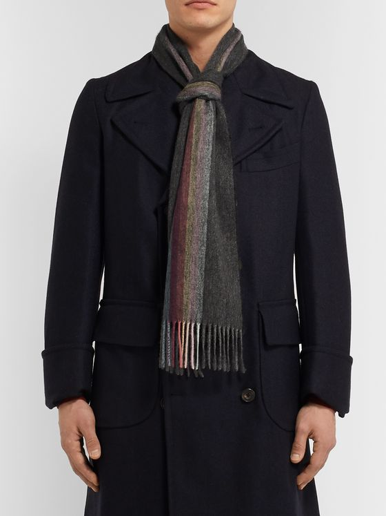 Paul Smith Fringed Striped Mélange Cashmere Scarf