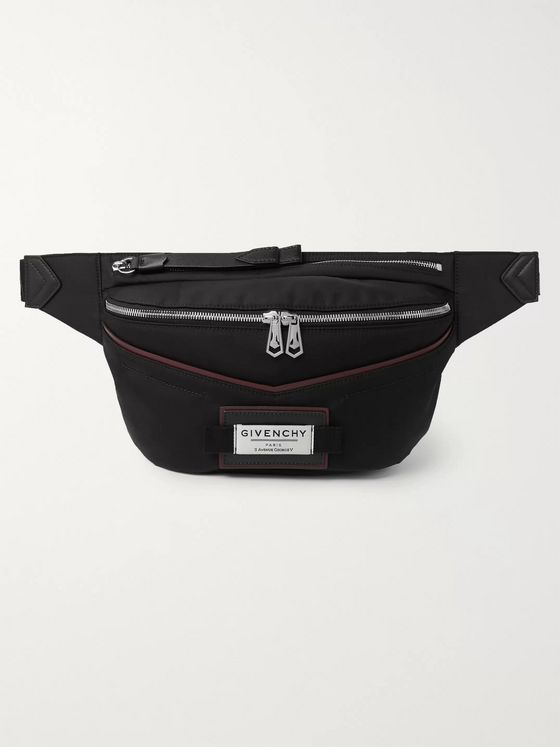 Givenchy Downtown Logo-Appliquéd Leather-Trimmed Shell Belt Bag