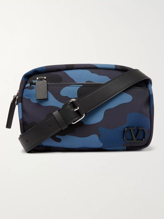 Valentino Valentino Garavani Leather-Trimmed Camouflage-Print Canvas Camera Bag