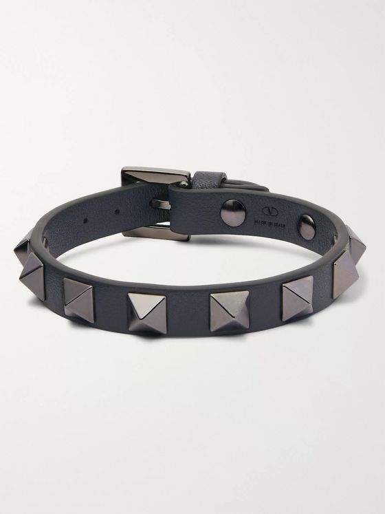 Valentino Valentino Garavani Rockstud Leather and Ruthenium Bracelet
