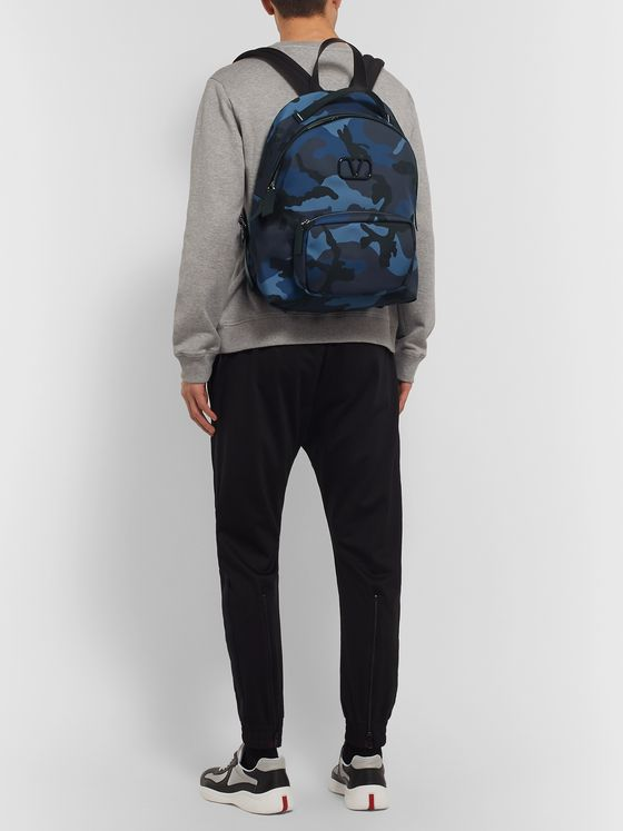 Valentino Valentino Garavani Leather-Trimmed Camouflage-Print Canvas Backpack