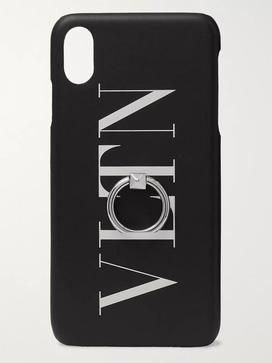 Valentino Valentino Garavani Ring-Embellished Logo-Print Leather iPhone XS Max Case