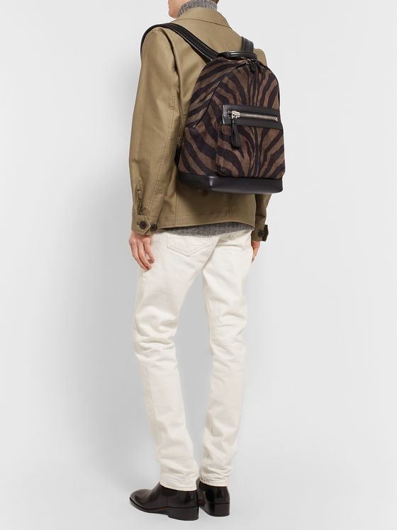 TOM FORD Buckley Leather-Trimmed Zebra-Print Suede Backpack