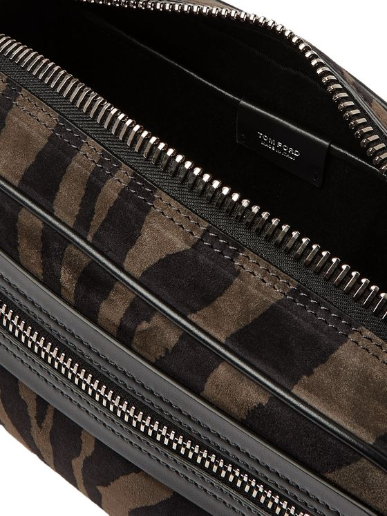 TOM FORD Zebra-Print Suede Wash Bag