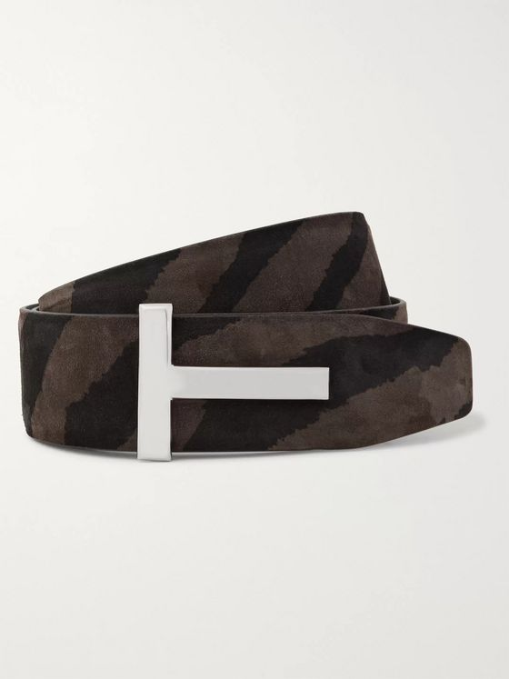 TOM FORD 4cm Reversible Zebra-Print Nubuck and Leather Belt