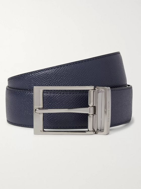Burberry 3.5cm Black and Navy Reversible Pebble-Grain Leather Belt
