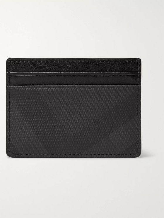 BURBERRY Checked Cross-Grain Leather Cardholder