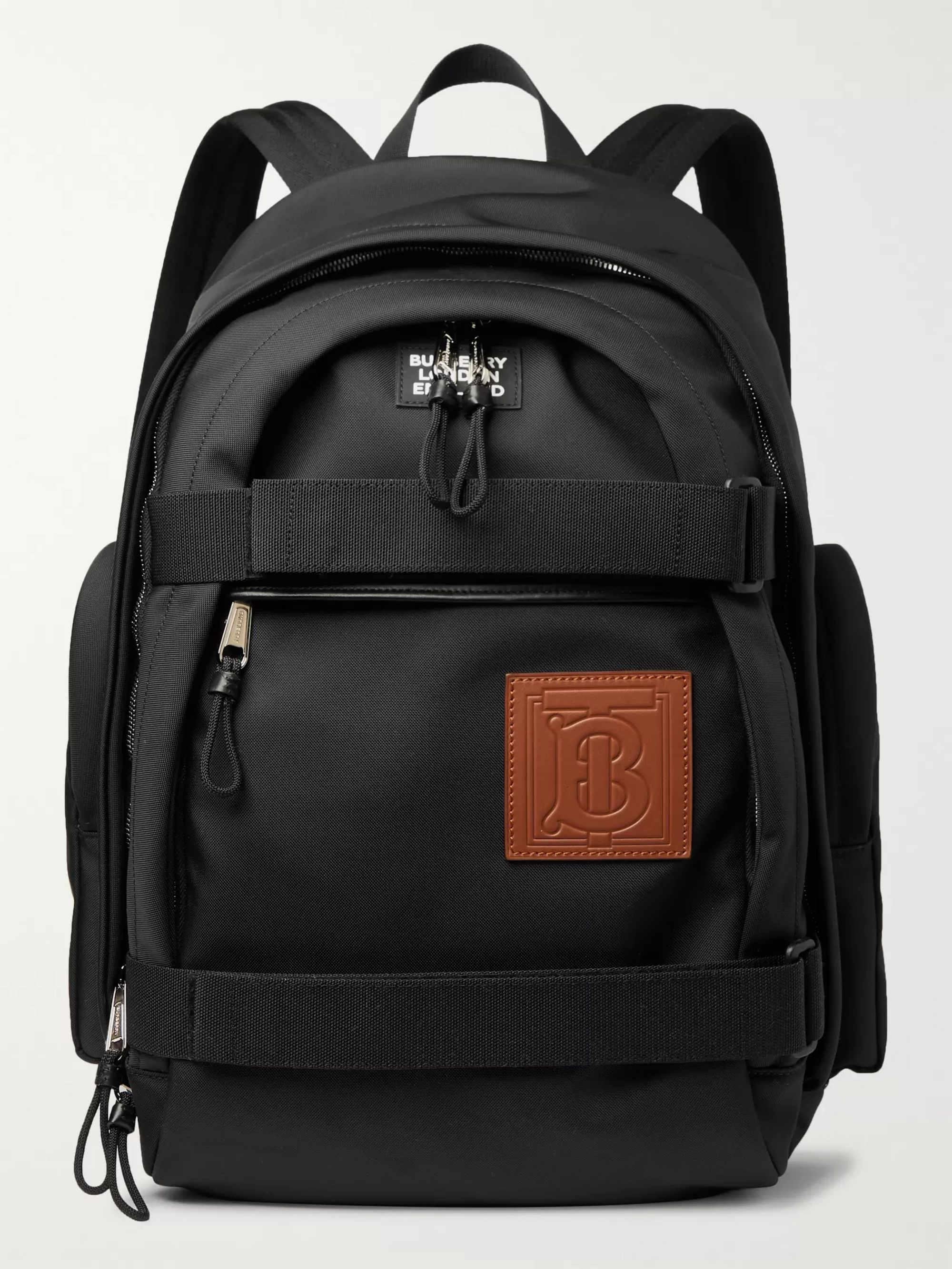 Burberry Logo-Appliquéd Leather-Trimmed Shell Backpack