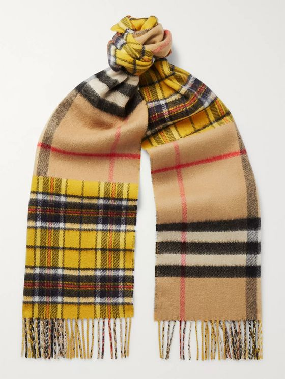 Burberry Fringed Checked Cashmere and Merino Wool-Blend Scarf