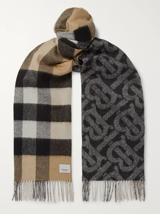 Burberry Reversible Fringed Cashmere Scarf