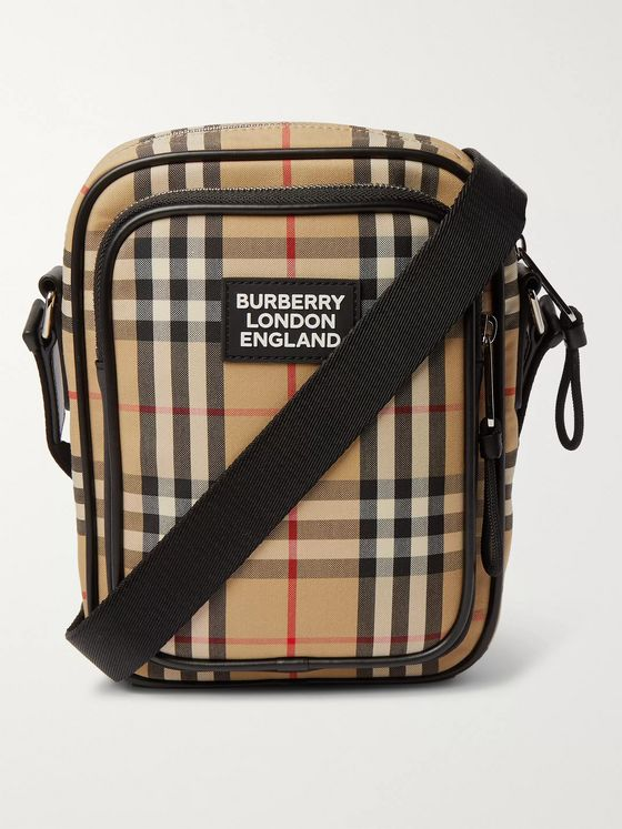 Burberry Logo-Appliquéd Checked Canvas Messenger Bag