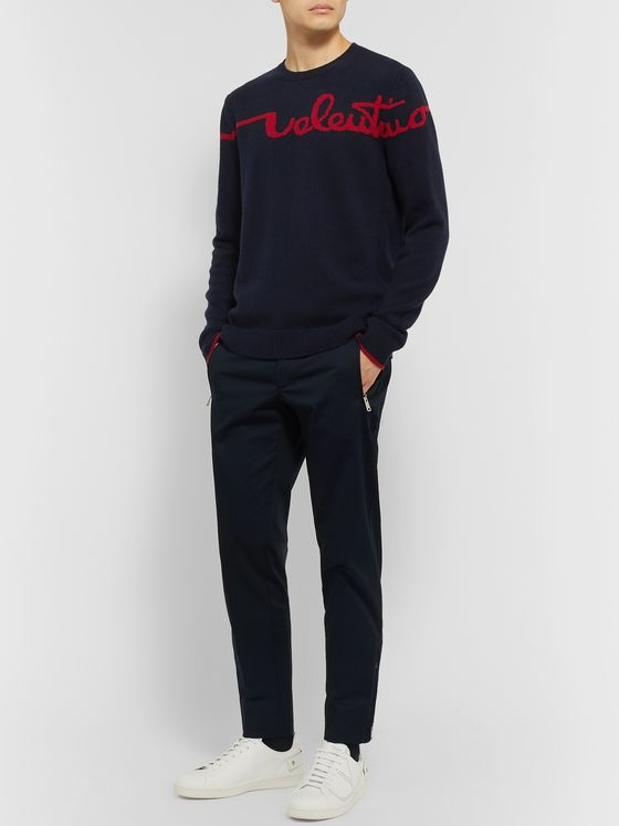 Valentino Logo-Jacquard Virgin Wool and Cashmere-Blend Sweater
