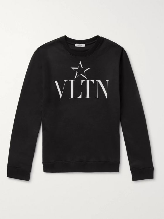 Valentino Slim-Fit Logo-Print Loopback Cotton-Blend Jersey Sweatshirt
