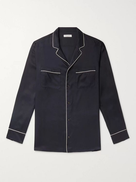 Valentino Piped Silk-Twill Shirt